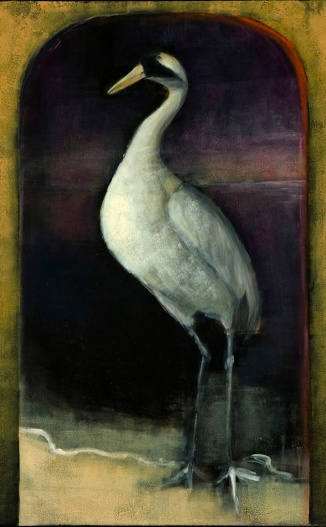 Crane wife, oil on panel, 29x17""