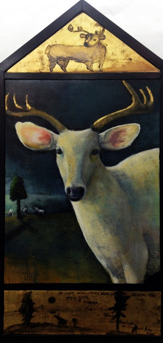 "Following a white deer, triptych 43x22"" oil and gold leaf on panel"