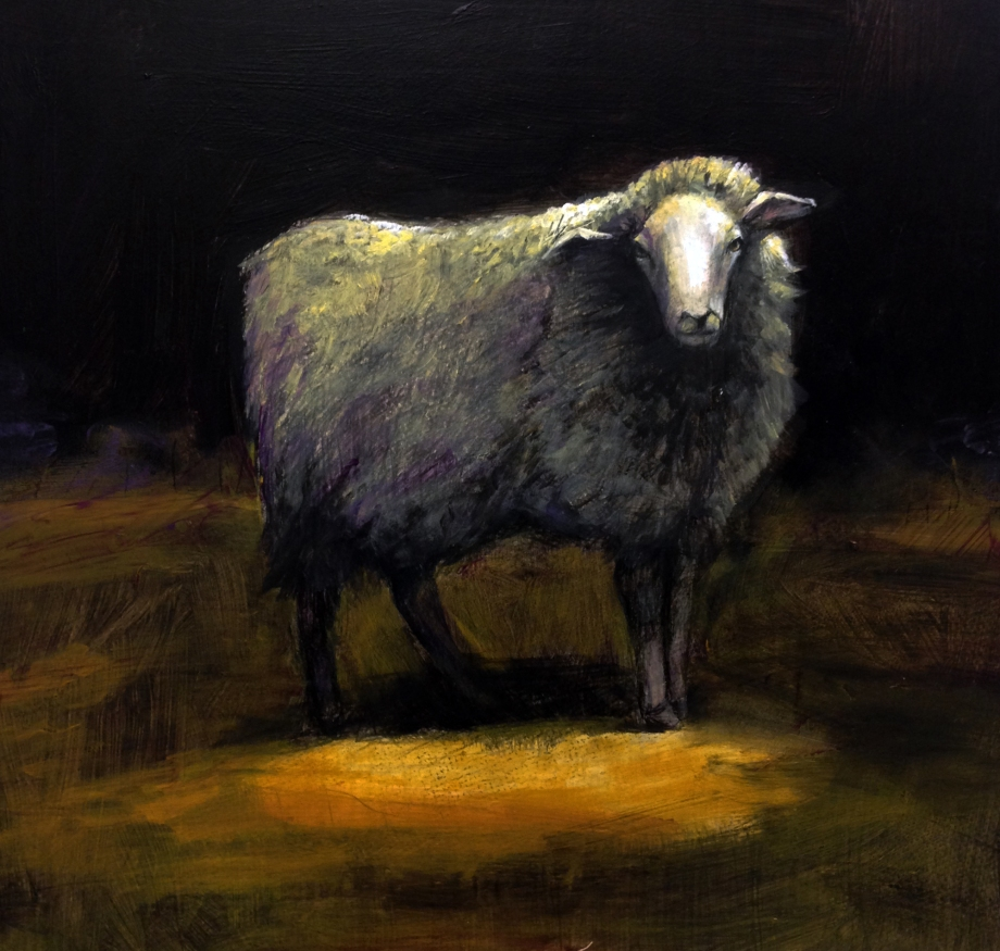 Hebridean sheep (The one who chased Gary, Oil on panel, 16x16""