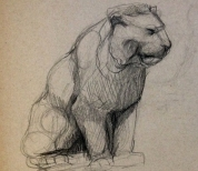 Drawing Bayre's lion at the Louvre