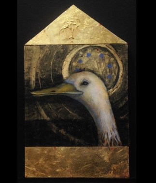 Memory of a rhea, 20x12, triptych, oi and gold leaf on panel
