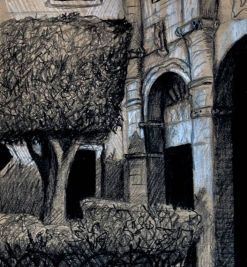 Mexican sketch, 3 (church courtyard)