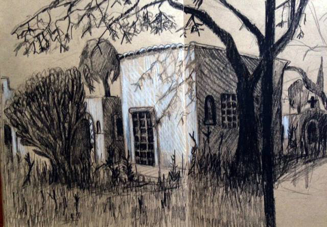 Mexican sketch, 2 (church grounds)