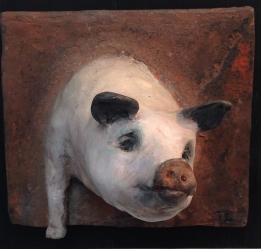 """Pigs might fly, bronze relief with hot patina, 4.5x5.5"""""""