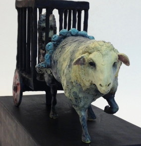 Pulling the burden, bronze, hot patina, 15x6x5