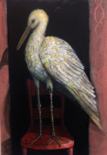 "The coming and going, oil on panel, 22x16"" (stork)"