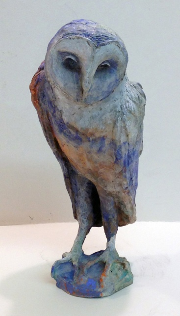 When sorrow becomes an owl, bronze with hot patina 15X7x6""